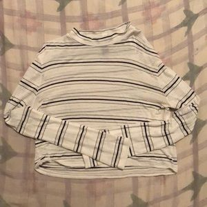Forever 21 (Small) black striped white crop top